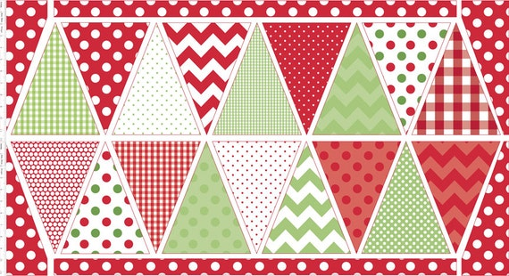 Festive Green Red Christmas Diy Bunting Panel Fabric By Riley