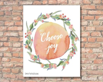 Choose Joy | Canvas Wall Decor | Watercolor Canvas | Scripture Canvas | Verse Print |