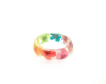 Pressed Flower Resin Jewelry- Real Flower Ring-  Resin Ring made with Flowers- Rainbow Ring
