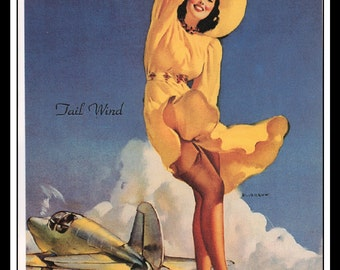 "Gil Elvgren Vintage Pinup Illustration ""Tall Wind"" Sexy Pinup Mature Wall Art Deco Book Print 5.5"" x 4"""