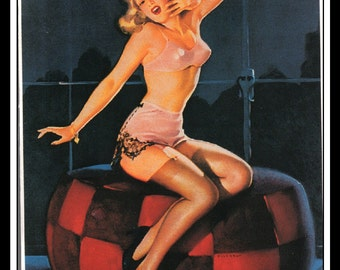 "Gil Elvgren Vintage Pinup Illustration ""Sleepy Time Girl"" Sexy Pinup Mature Wall Art Deco Book Print 5.5"" x 4"""