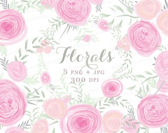 Watercolor flowers clipart pink watercolor rose clipart posies floral wedding invitation bouquet clip art Commercial Use