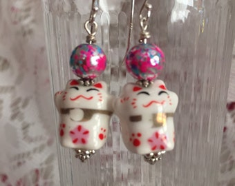 Pink and White Happy Kitty Dangle Earrings