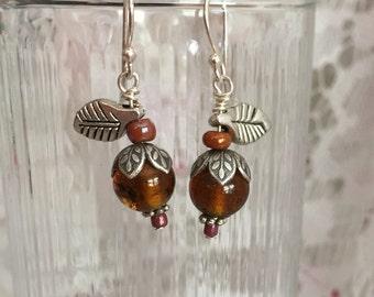 Amber Vintage Glass Bead Apple of My Eye Earrings