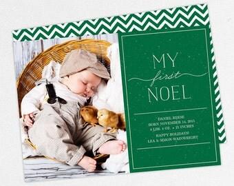 24 HOUR TURNAROUND, Holiday Birth Announcement, Christmas Birth Announcement, Snow Birth Announcement, Boy, First Noel, DIY, Printable, pdf