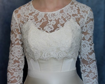 Bridal lace top wedding jacket Ivory bridal cover up lace wedding bolero wedding jacket bridal shrug wedding shrug lace shrug bolero jacket