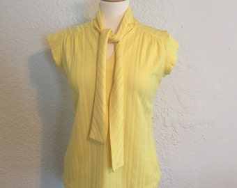 Yellow Short Sleeve Tie-Neck Shirt