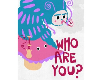 "Alice in Wonderland ""Who Are You?"" Blue Caterpillar Illustration A4 Print"