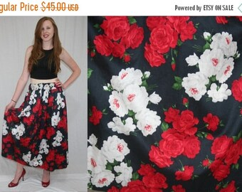 On Sale Vintage 80s Black White Red Rose Floral High Waist Full Maxi Skirt S M