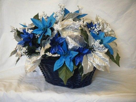 Blue white silver turquoise poinsettia christmas basket table