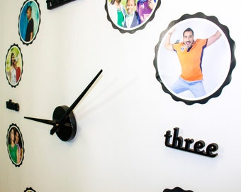 Oversize Wall Clock Kit   Custom printed with your family portraits   Vinyl Wall Art