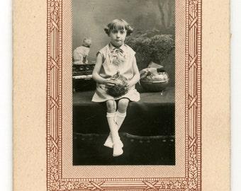 Young girl with ball portrait photo - carte de visite - CDV- antique black and white studio photo- young children- paper ephemera