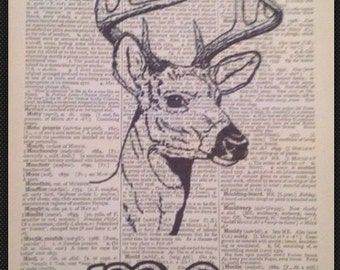 Stag 'Deer Me' Quote Deer Head Print Vintage Dictionary Page Wall Art Picture Animal  Quirky Funky Cool