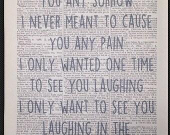 Prince 'Purple Rain' Music Lyrics Vintage Dictionary Wall Art Print Picture