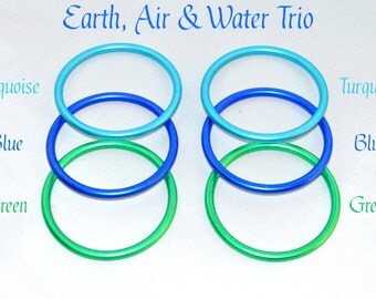 "6 Pack 3"" Aluminum Rings for Baby Ring Sling Carrier Wrap, Element Pack 2 of Green Turquoise Blue DYI Crafting AL-Ring-Green-Turquoise-Blue"