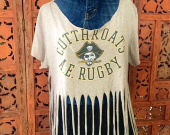 Distressed & Shredded T-Shirt with fringe detailing. Off-The-Shoulder Top