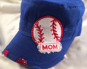 Baseball Mom Bling Hat - Baseball Mom - Cadet Hat - Real Swarovski Crystals