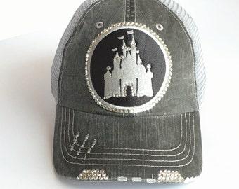 Disney Baseball Cap, Trucker Hat, Disney, Real Swarovski Crystal, Womens Fitted Baseball Cap, Disney Castle Hat, Disney Castle, Disney Women