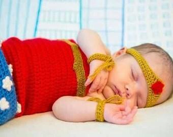 Wonder woman handcrafted crochet newborn baby set