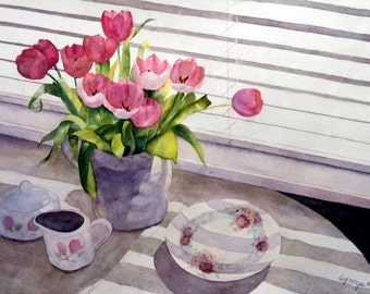 Breakfast with Tulips - Watercolor print