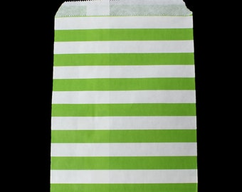 20 Wedding Cookie Bags, Treat Bags, wedding favor bags, green and white stripe favor bags, goodie bags, candy bags, wedding bags