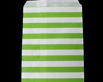 Wedding Cookie Bags, Treat Bags, wedding favor bags, green and white stripe favor bags, goodie bags, candy bags, wedding bags