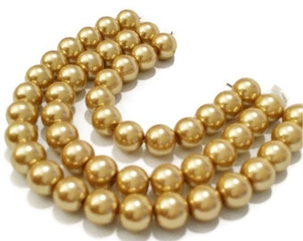 8mm Gold Glass Pearl Beads | 8mm Glass Beads | Handmade Jewelry | 8mm Pearls | Glass Beads | Glass Pearl Beads | DIY Craft | Crafting Beads