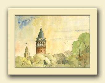 Istanbul city-  Galata tower at Bosphorus river Byzantine cityscape decor-  original art wall  - Original watercolor painting- Juan Bosco