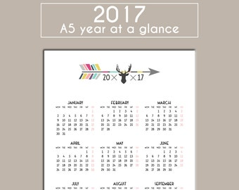 2017 A5 Year At A Glance Calendar Year Overview Planner Insert