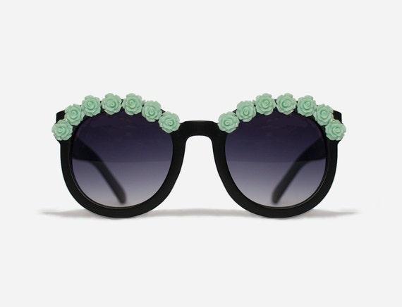 New York Matte Black and Mint Flower Sunglasses Festival Coachella