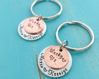 Lucky Us Personalized Penny  Keychains - Copper Anniversary - 1st Anniversary - 7 year anniversary - Personalized wedding - Couples Keychain