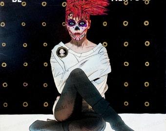 5x5 estar nervioso (be nervous) Sugar Skull Day of the Dead Dia De Los Muertos Art Print