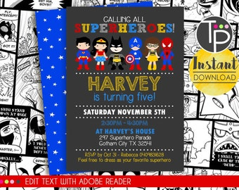 SUPERHERO Invitation, INSTANT DOWNLOAD Superhero Invitation, Superhero Party, Superhero Party Invitation, Edit yourself with Adobe Reader