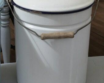 vintage enamel bucket with lid