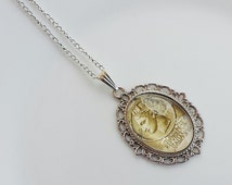 Gift ideas necklace cabochon pendant glass handmade silver tone base italy italia stamp mail post service postcard letter postage philately