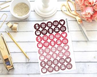 Valentine's Glitter Circles (40 Planner Stickers)