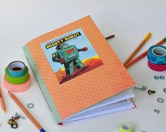 Vintage Robot Journal Mixed Paper Junk Art Journal Sketchbook - LARGE