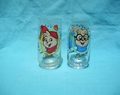 Vintage Chipmunks Drinking Glasses Cartoon Alvin and the Chipmunks Simon 1985