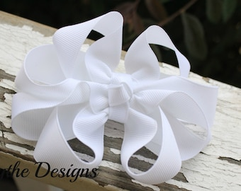 White Hair Bow, White Bow, White, Special Occasion, Hair Bow, Funky Hair Bow, Octopus Bow, Boutique Hair Bow, Hair Bow, Girls Bow, Infant
