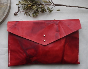 Red leather tie dye clutch bag, tie dye ipad case, tablet holder.  Colour variations available.  Handmade in England.