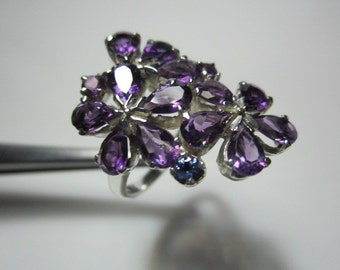 natural amethyst and natural tanzanite ring, WOOW GORGEOUS DESIGN