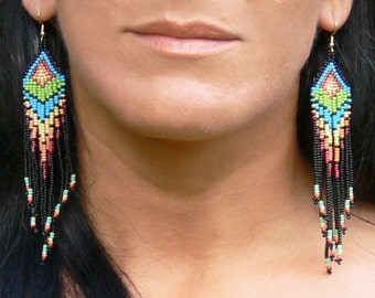 Native American Beaded Earrings Inspired. Colorful Dangle Earrings. Beaded Jewelry. Beadwork