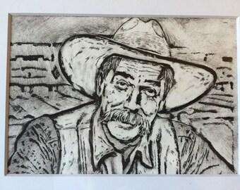 SAM ELLIOTT drypoint print