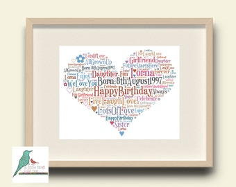 Word art etsy heart personalised word art gift keepsake print or print and frame any occasion digital image pronofoot35fo Image collections