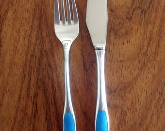 Danish flatware guilloche enamel silver knife and fork set by A Michelsen, Georg Jensen