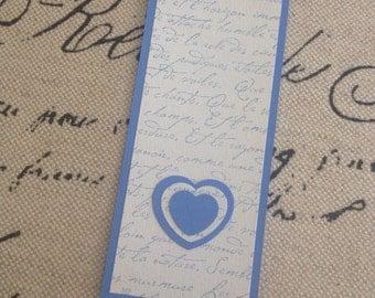Blue French Script Bookmark
