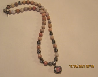 Pink Peruvian opal 22 inch necklace with silver accents and  Bali designer pendant