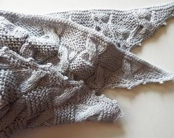 Knitted grey shawl, knitted woman wrap, winter wool shawl, knit accessory, woman scarf, cable shawl, light grey shawl