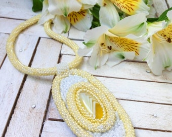 Embroidery in beads necklace - beadwork jewelry-beaded embroidery jewelry.