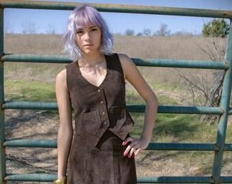 SALE - Vintage Dawn Fashions Suede Vest